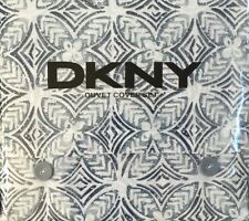 DKNY Acacia Dark Blue And Ivory Full Queen Duvet Cover Set W Shams Donna Karan