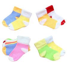 5 Pairs Cute Kids Toddler Anti-Slip Cotton Soft Candy Color Newborn Short Socks