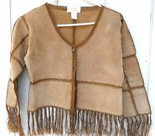 VINTAGE PATCH BROWN LEATHER FRINGE  WOMEN'S LIGHT JACKET SIZE US SMALL