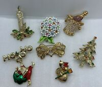 Lot  Of (7) Vintage / Modern Sparkly Holiday Christmas Brooches~Gold Plated