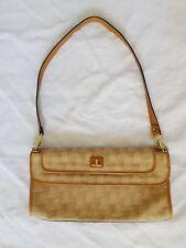 LANVIN true vintage excellent tan monogram canvas leather shoulder clutch bag