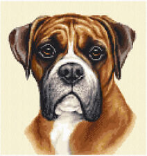 RED BOXER dog, pup - complete counted cross stitch sewing kit