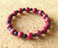 Ladies Stretch Bracelet: Red and Black Wooden Beads