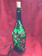 NEW Bling LIGHTS LAMP Electric PEARMUND Cork Empty WINE BOTTLE With Green LEDs