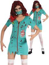 Ladies Zombie Surgeon Doctor Nurse Costume Halloween Fancy Dress Couples