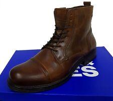 Jack & Jones Herren Leder Schuhe Stiefel Stiefeletten RUSSEL Boots Men Cognac