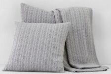 New Bloomingdale's 1872 Bedding Cable Knit Euro Pillow Sham Grey $160 Y1360
