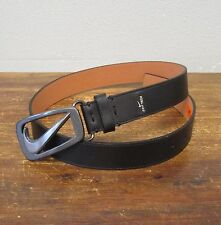 NIKE GRIP TECH Black Leather Gunmetal Silver Swoosh Buckle Mens Belt - 36 Inches