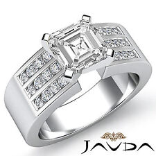 Asscher Cut Diamond 3 Row Channel Set Engagement Ring GIA F VS2 Platinum 1.31 ct