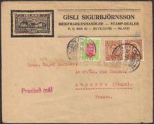 Iceland 1920 Defs sg 116-7 used env Reykjavik 2 Nov 1927