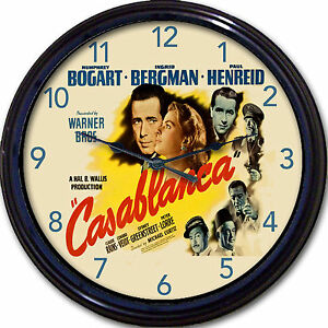 "Casablanca Bogart Bergman Hollywood Warner Movie Poster Wall Clock Lorre New 10"""