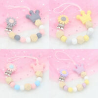 Crown Sunflower Silicone Beads Teething Dummy Soother Holder Pacifier Clip Chain