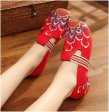 Women Handmade Chinese Embroidered Flower Soft Flat Shoes Mary Jane Floral Shoes