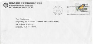 Australia 1979 Hungary People's Republic Consulate commercial cover robin bird