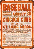 """1934 Cubs vs. Cardinals at OshKosh Rustic Retro Metal Sign 8"""" x 12"""""""