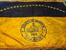 """Warren County New Jersey Large Flag 70""""x48"""" Embroidered with fringe"""
