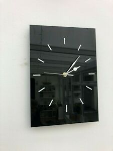 Wall Clock  New High Gloss Black Stunning Contemporary Non Ticking Sweeping