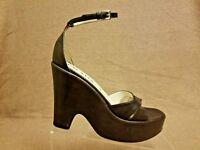Prada Women Brown Leather Platform Wedge Heel Ankle Strap Sandals Size 38.5