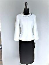 NEW $$$ TAHARI 2PC SKIRT SUIT 8 CLOUD WHITE BLACK PEARLS NECKLINE SEXY CHIC!