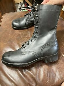 Vintage 1971 Black Military Issue RO-SEARCH Combat Leather Boots 1971 8 R