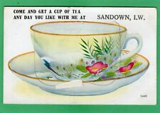Sandown Cup of Tea Novelty Pull Out IOW pc 1923 Valentines AE49