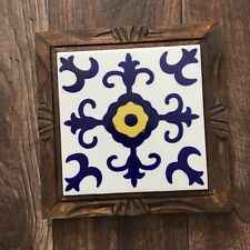 Vintage Dal Tile Wood Framed Mexico S-1 Cobalt Blue Design Yellow Center Trivet