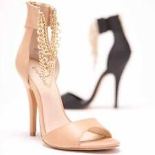 $129 New BEBE Lorina Chain Heels BLack shoes Size 7