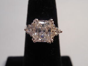 Vintage 4CTW Emerald Cut CZ Crystal Sterling Silver Engagement Ring Size 6
