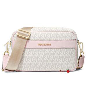 Michael Kors Kenly Large Pocket Crossbody Bag Multi Powder Blush Vanilla Pink