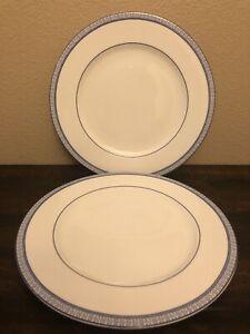 Ralph Lauren MACAO White & Blue Porcelain Dinner Plates ~Set of 2~ Floor Display