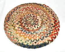 """Vintage Braided Chenille Farmhouse Multi Color 14"""" Round Rag Rug Seat Cover"""