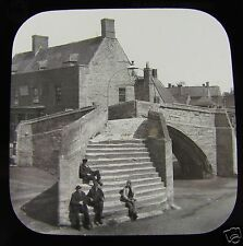 Glass Magic lantern slide  GOTHIC TRIANGULAR BRIDGE CROYLAND  C1890 ENGLAND