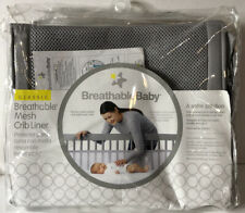 BreathableBaby Classic Breathable Mesh Crib Liner Bumper Gray