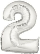 Number 2 Silver 100cm/40Inch Party Balloon Foil for Birthdays & Parties