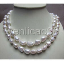 """RARE HUGE LONG AAA 12-16MM SOUTH SEA BAROQUE WHITE PEARL NECKLACE 35"""""""
