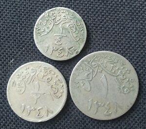 SAUDI ARABIA HEJAZ & NEJD SET OF 3 COINS 1348 SCARCE L@@K!