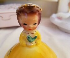 Vintage Josef Originals Figurine Birthday Girl July Yellow Dress Baby Bird
