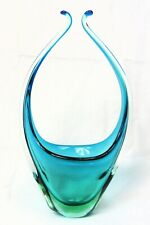 "Vintage 1950/60s Murano Freeform Sommerso Glass Vase 12"" Tall Green & Blue MCM"