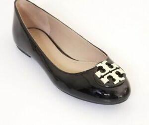Tory Burch Black Patent Leather Claire Ballet Flats, Size 8.5