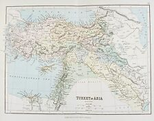 Old Antique Map Turkey in Asia Cyprus c1879 by G Philip Printed Colour