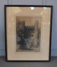 Vintage Engraving of Trinity College Cambridge University - England - Signed