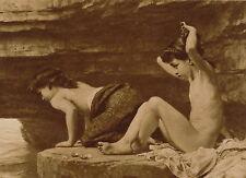 Antique original Old POYNTER Art Print OUTWARD BOUND Children Skinny Dipping