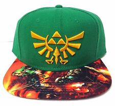 6f39b119edb THE LEGEND OF ZELDA TRIFORCE LOGO SNAPBACK HAT Green Gold FlatBill Link  WOOL Men