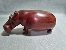 Vintage Wood Hand-carved Hippo Figurine .
