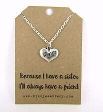 "Sentimental Sister Rhinestone Pendant 18"" Message Card Necklace Quote New Gift"