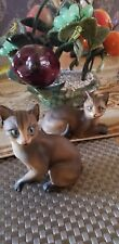 Vintage Abyssinian by Andrea 2 Cats Blue eyes Ceramic matt Statue Figures. Cute
