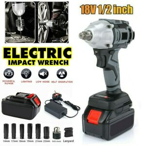 """Cordless Impact Wrench 1/2"""" Impact Driver Ratchet Rattle Nut Gun With Battery"""