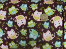 COUNTRY QUILTING FABRIC- flannelette Flannel Owls FQ 50x55cm Brown Cute Kids New