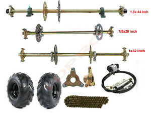 Drift Trike Go Kart Rear Live Axle Kit Brake Assembly Wheels Hubs Sprocket ATV