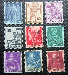 EBS Switzerland 1941 - Figures from Swiss History - Michel 377-385 Used